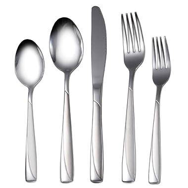 Silverware Set, 20-Piece Flatware Set Stainless Steel Silverware Set Service for 4, High-grade Cutlery for Kitchen Hotel Restaurant Wedding Party, Mirror Finish Dishwasher Safe Silverware Gift Box
