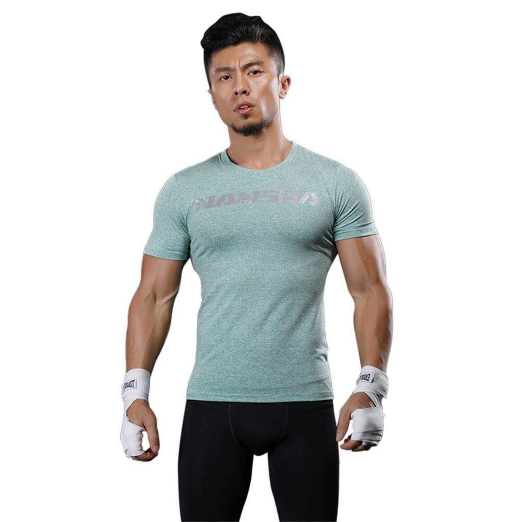 f114fc1023604 Amazon.com: IAMUP Men's Simple Compression Tops Solid Athletic Running  Training Gym T-Shirts Dri fit Base Summer Jogging Layer: Clothing