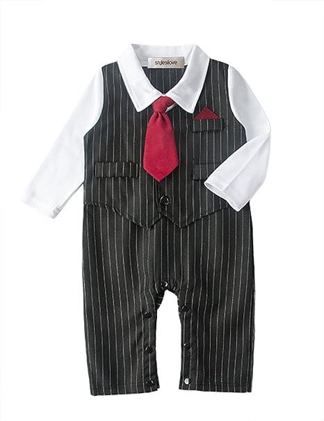 0ed7743f761d stylesilove Baby Boy Tie Striped Vest Formal Wear Romper (80 6-12 Months