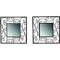 Hosley Decorative Square Iron Wall Mirror (15.24 cm x 29.84 cm, Black, Set of 2)