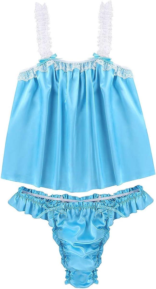 YiZYiF Mens 2 Piece Satin Frilly Babydoll Nightie Sissy Pouch Panties Lingerie Set