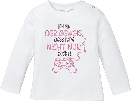 MoonWorks/® Baby T-Shirt Kurzarm Babyshirt Ich Bin der Beweis DASS Papa Nicht nur zockt Gamer Zocker Nerd Spruch lustig Jungen M/ädchen Shirt