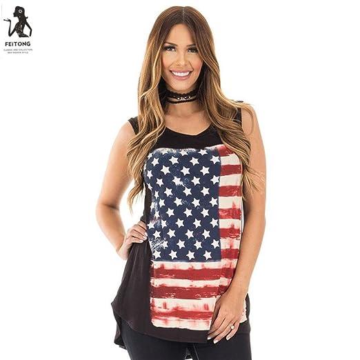 Amazon Com Trendinao Womens American Flag Print Sleeveless Tank
