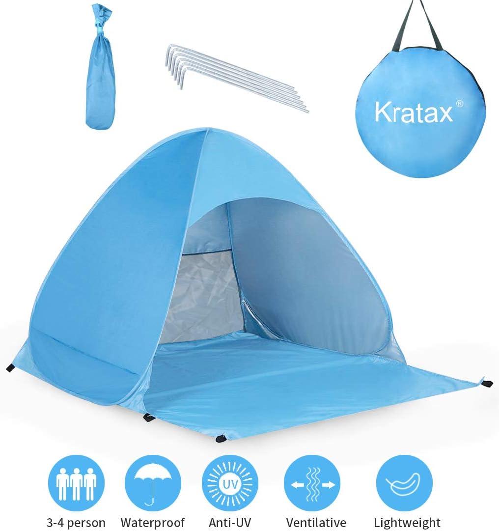 Kratax Tente Plage Pop Up Plage De Parasol Protection Uv Pour 3 4 Personnes Ouverture Instantanée Léger à Porter Pour Plage Palco Jardin