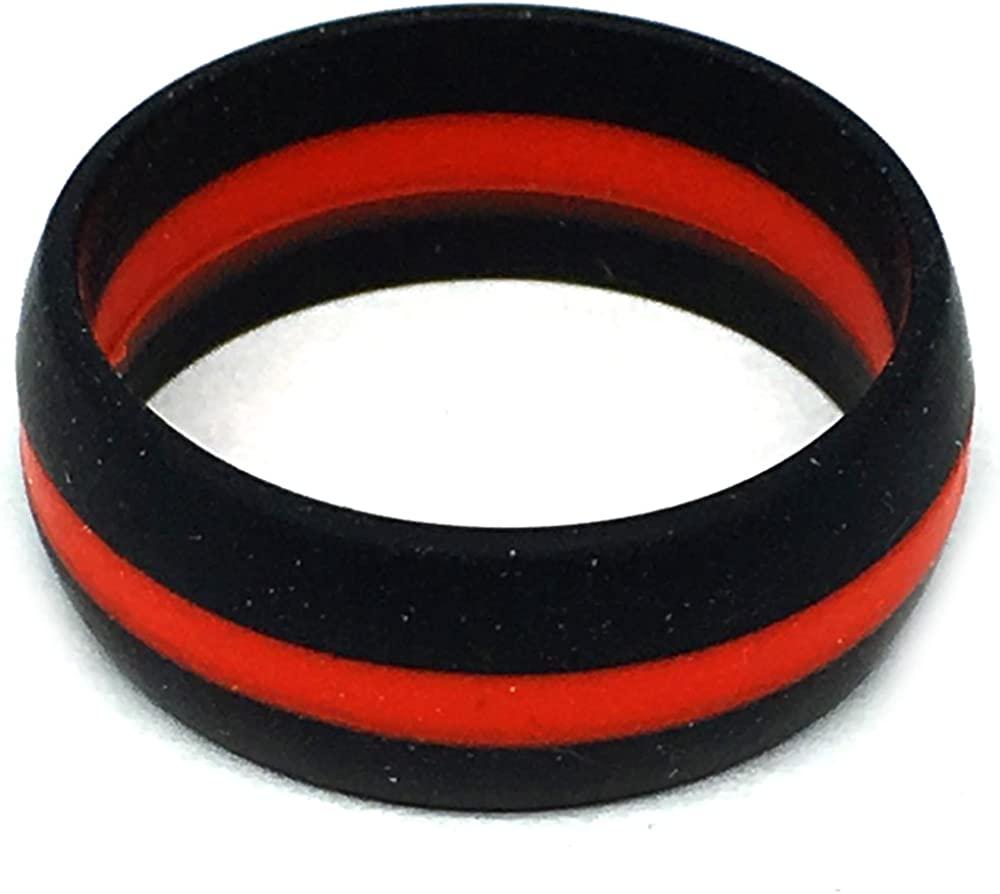 Black and Red Silicone Wedding Ring  Sleek Sturdy Durable and Flexible Band  Grooved Red Center  Tough Made for Work /& Play 8 mm