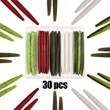"XFISHMAN Senko Worms Bass Fishing Lure Kit 30 pk Wacky Rig Worms Soft Plastic Stick Baits 4"" 5"" inch"
