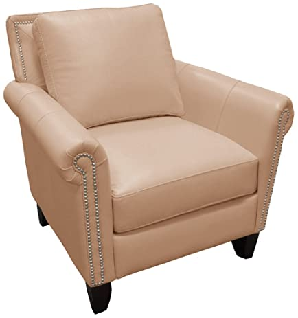 Omnia Leather Benjamin Chair In Leather, With Nail Head, Guanaco Marmo