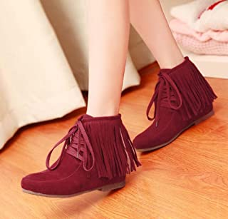 Ankel Boots Femmes Ronde Toe Seude Shoelace Tassel Flat Boots Casual Chaussures Court Shoes 2017 Auturm Winter New Eu Taille 34-39