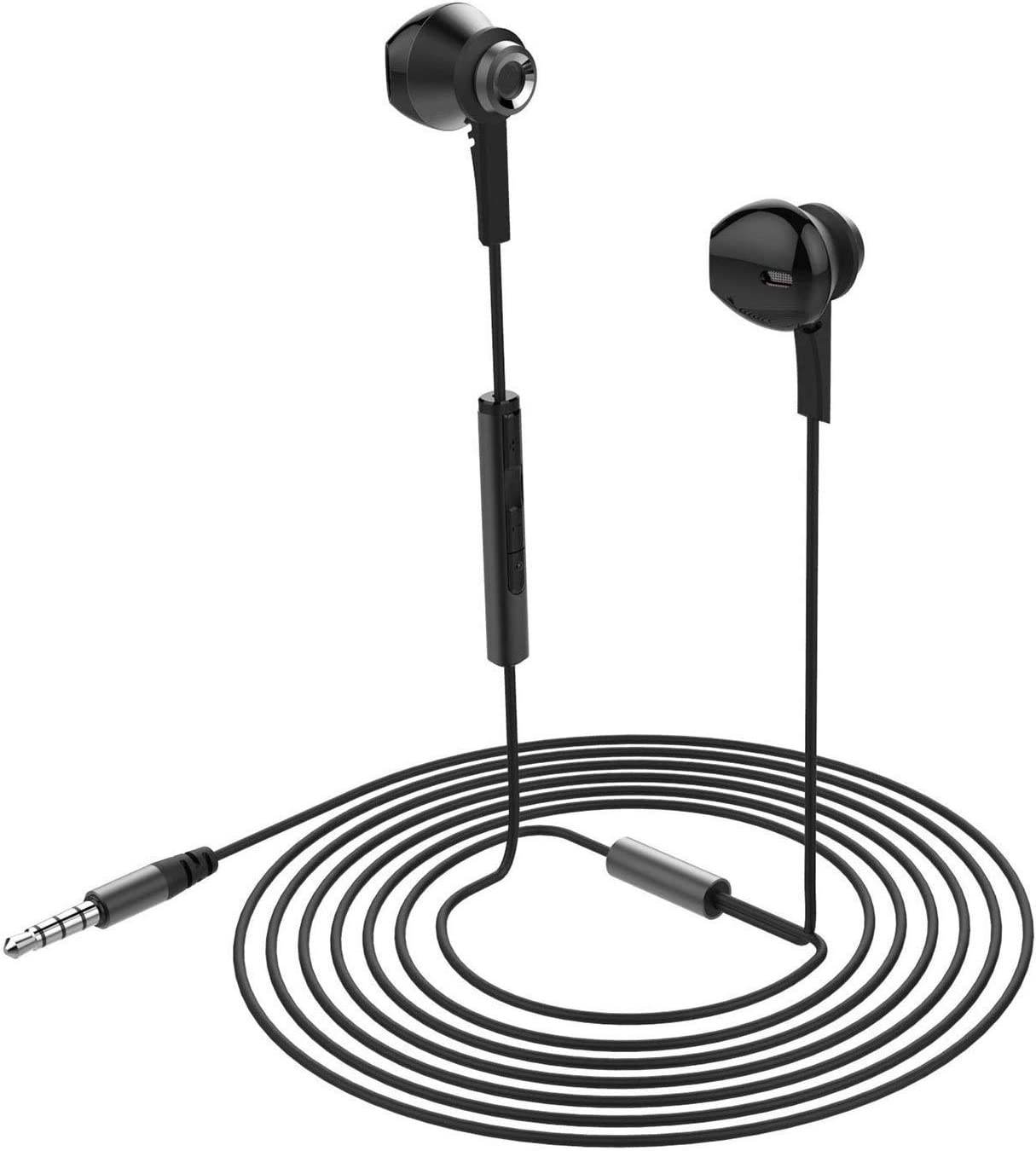 HOTWAV Headphones Earphones Earbuds Wired Earphones with Microphone Noise Cancelling in Ear Headphones Moving Coil Heavy Bass Earphones with Mic Volume Control for Smartphone,Tablet and More