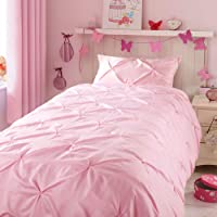 Kids Duvet Cover Set Twin, Glossy Polyester Satin Face and 100% Cotton Reverse, Light Weight Pink Duvet Cover Set for Baby Teen Girls Bedroom, Cute Ruched Pinch Pleated Pintuck Duvet Cover, 69