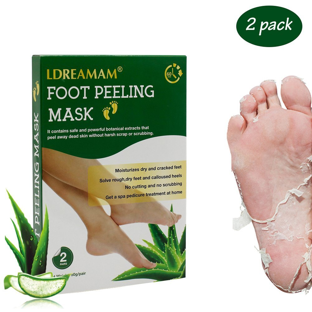 Foot Peel Mask,Exfoliating Foot Mask,Peeling away Calluses and Dead Skin Remover,Repair Rough Heels,Make Your Feet Baby Soft,Natural Aloe Extract-2 Pack by LDREAMAM (Image #9)