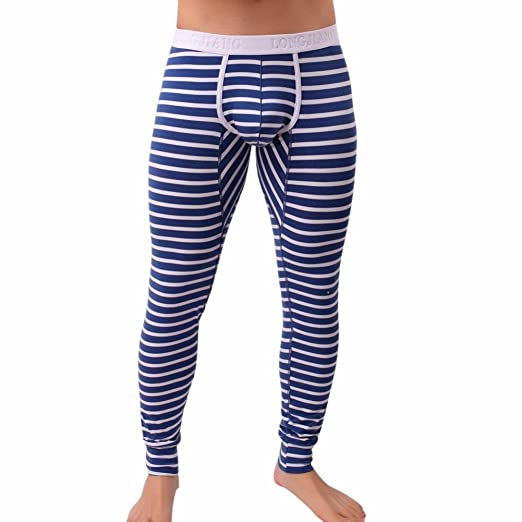 Starxin Mens Fashion Striped Breathe Patchwork Low Rise Leggings Long Johns Thermal Pant (Blue,