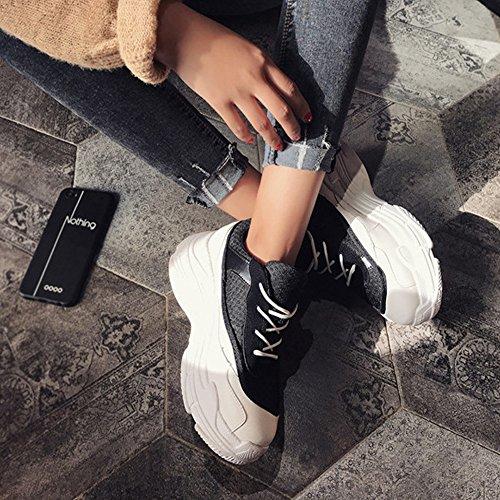 Abbinamenti Nero Rosso Scarpe da mano colore di pelle GAOLIXIA da Calzature primaverili Selvaggio cuciture in a studente Cuciture con Bianca corsa Bianco cucite spesso Scarpe Fondo sportive wTqxgSTP