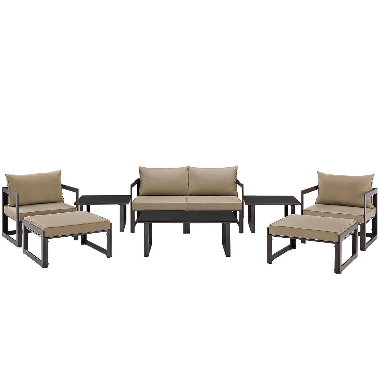 Amazon.com: modway Fortuna 9 Pieza Patio Seccional sofá Set ...