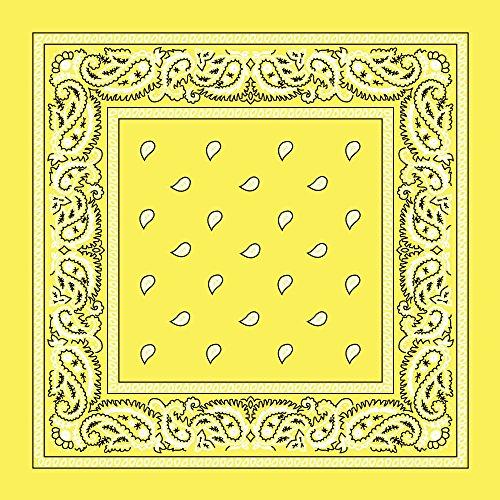 Light Yellow Paisley Bandanas - Dozen Packed 22x22 (Bandana Yellow Paisley)