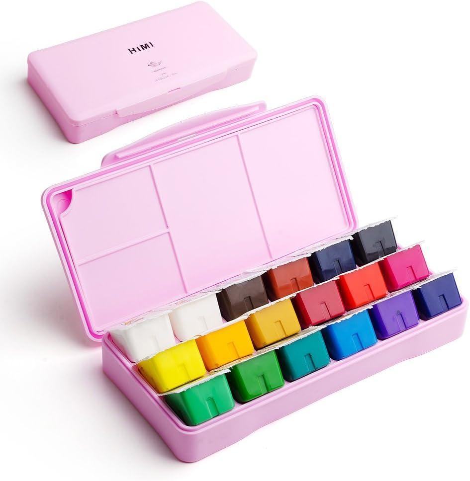 Kit de pintura Miya Gouache, 18 colores x 30 ml, diseño único de tarrinas con funda portátil, Gouache, perfecto para óleo, pintura acrílica y más (rosa)