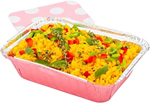 16-OZ Rectangular Disposable Aluminum Foil Food Containers with Flat Board Lids: Great for Restaurant Take Out, Catered Events and Meal Prep - Pink Foil with Polka Dot Lid - 200-CT - Restaurantware