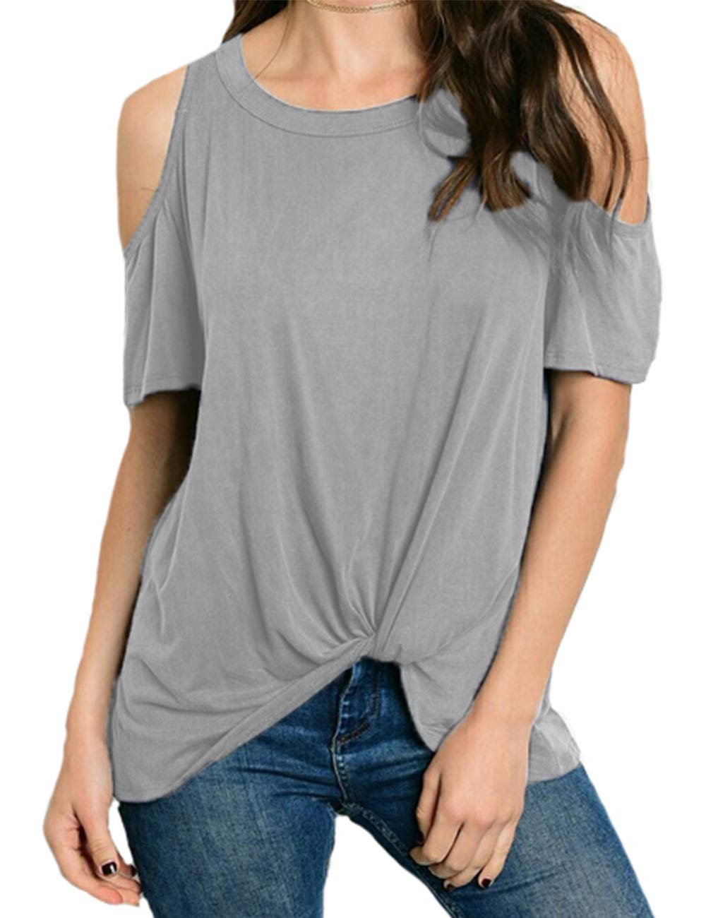 Eanklosco Women's Cold Shoulder Shirt Casual Short Sleeve T-Shirt Summer Twist Knot Front Tunic Tops (XL, Gray)