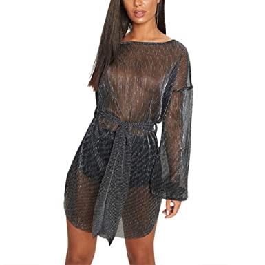 c92aaeadc2 Women s Sexy Perspective Cocktail Dress Loose Large Size Club Bar Dress  Mesh Long Sleeve Dress Black