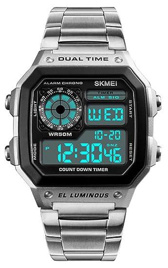 Para hombre Digital oro acero inoxidable reloj con retroiluminación multifunción al aire libre Cronómetro impermeable Deporte relojes: Amazon.es: Relojes