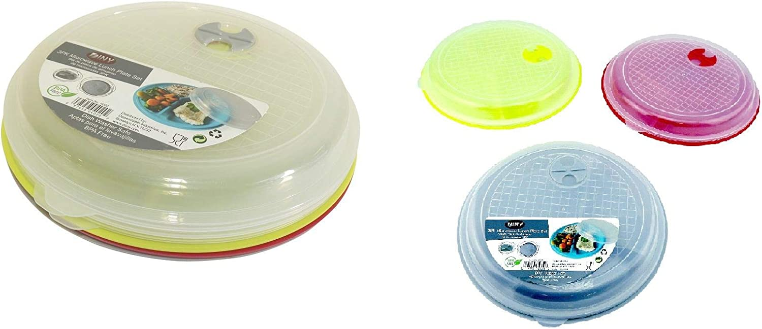 3 Pack Divided Microwave Lunch Plate Set with Lids Vented Food Storage Food Grade Plastic