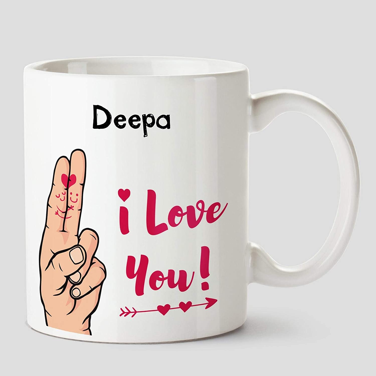 Buy Huppme I Love You Deepa Name Ceramic White Coffee Mug 330 Ml Online At Low Prices In India Amazon In
