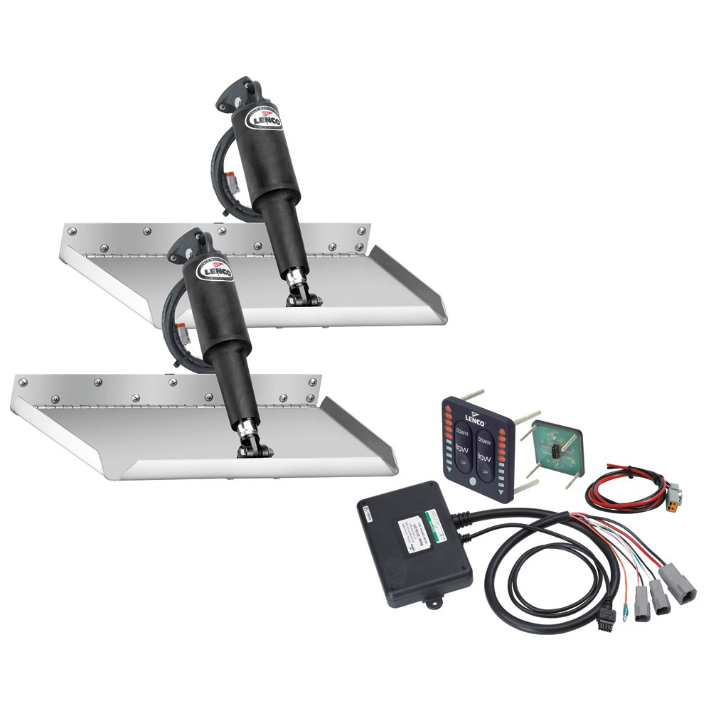 Lenco Marine 12'' x 18'' Edgemount Trim Tab Kit with LED Indicator Switch Kit 12V TT12X18EI