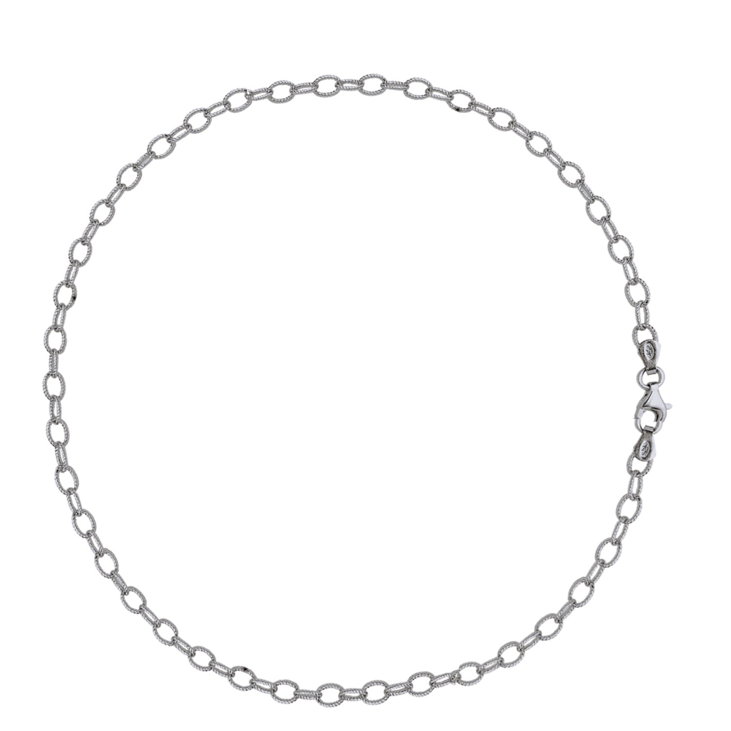 Sterling Silver Textured Rolo Cable Link Chain Anklet 10 Inches