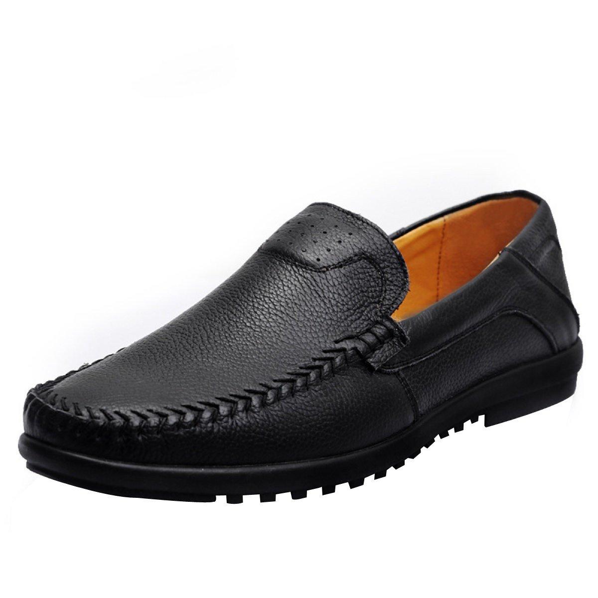 Zapatillas De Deporte De Cuero De Los Hombres Ocasionales Calientes Deslizan Encendido 42|Black Black