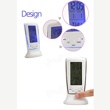 Rich N Royal 510 Digital Alarm Temperature Calender Table Desk Clock with LCD Display and Back Light