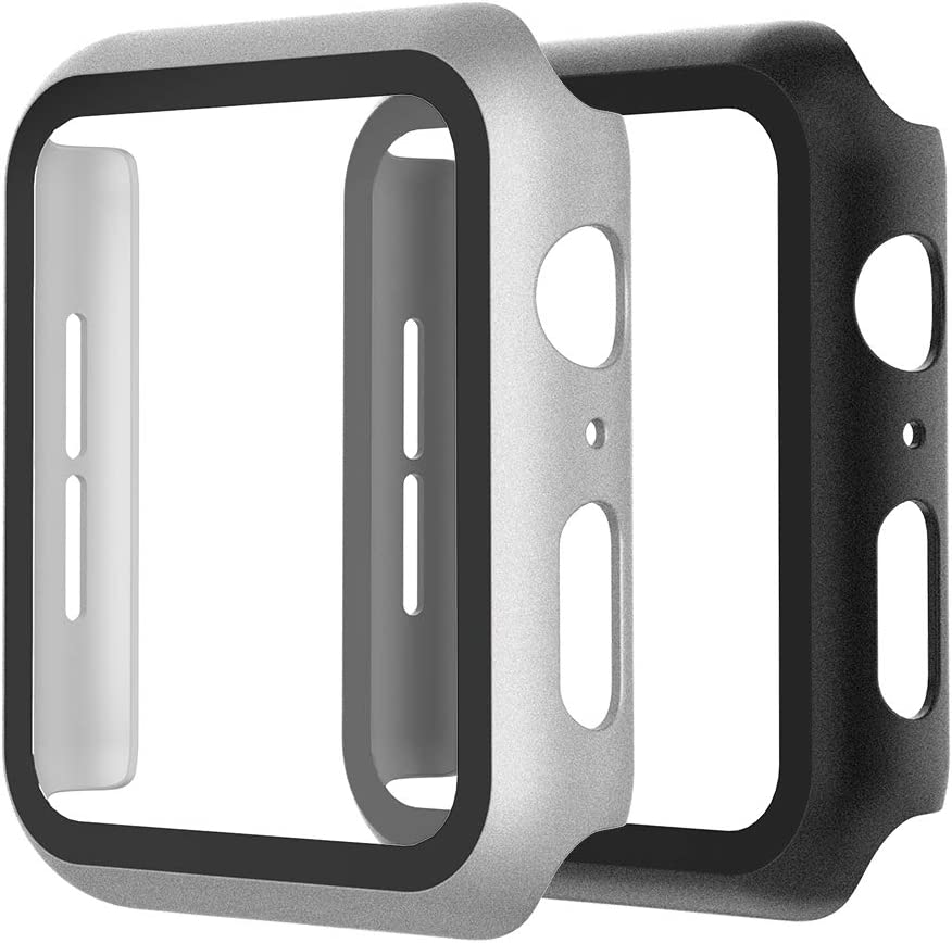 WD&CD (2 Pack) Case Compatible with Apple Watch Series SE/6/5/4 44mm, Buit-in Ultra Thin HD Tempered Glass Screen Protector Overall Protective Cover Replacement for iwatch Series SE/6/5/4, Black & Silver