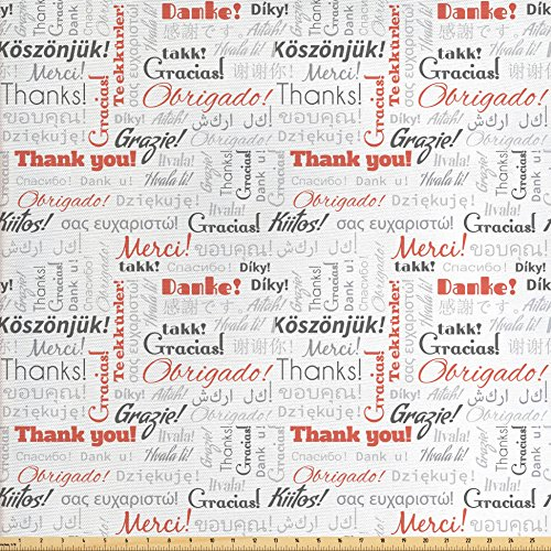 nal Global Fabric by The Yard, Thank You Phrase in Different Languages of The World Multilingual, Decorative Fabric for Upholstery and Home Accents, Salmon Grey ()