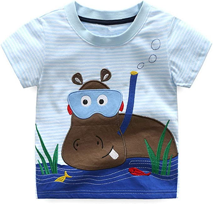 Ianchoo Kids Boys T Shirts Baby Cotton Embroidery New Kids Clothes Navy Summer Cartoon Short Sleeve Boy T Shirts