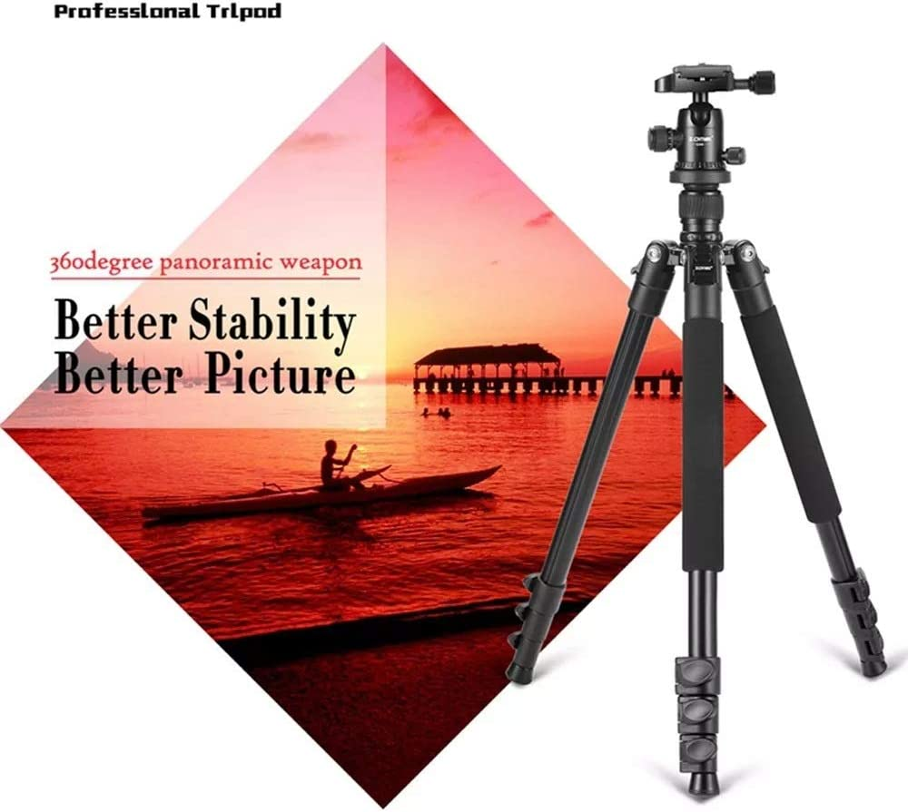 Zxcvlina-YD Aluminum Tripod Flexible Portable Camera Tripod Stand Tripe with Ball Head for DSLR Camera Smartphones Video Tripod System Color : Black, Size : One Size