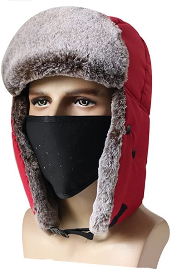 Men Trapper Winter Hat Face Mask Warm Earflap Aviator Russian Trooper Ski Cap QK