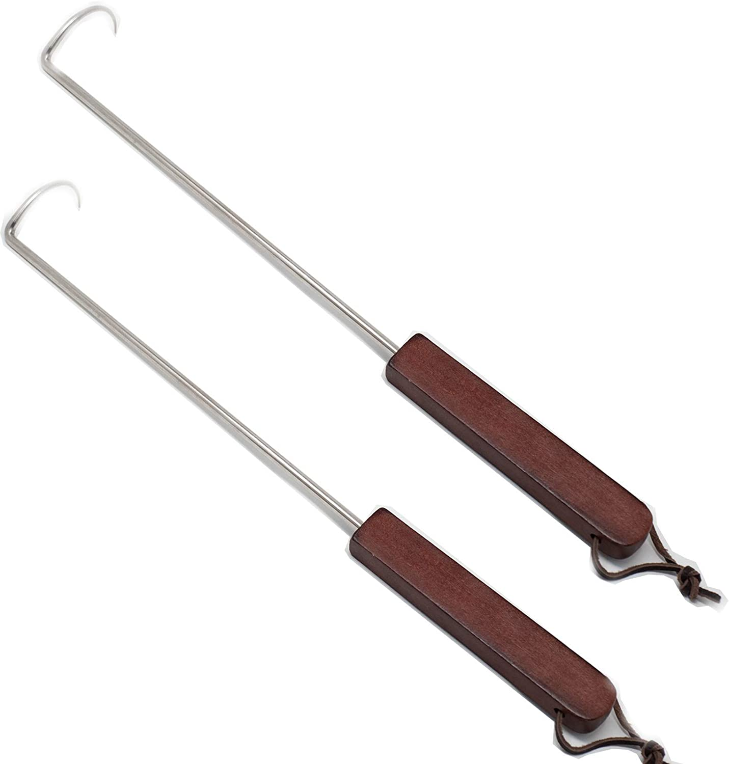 MPAGON Food Flipper Hooks, Stainless Steel BBQ Meat Turner Hook for Grill with Wooden Handle 2Pcs 18 Inches