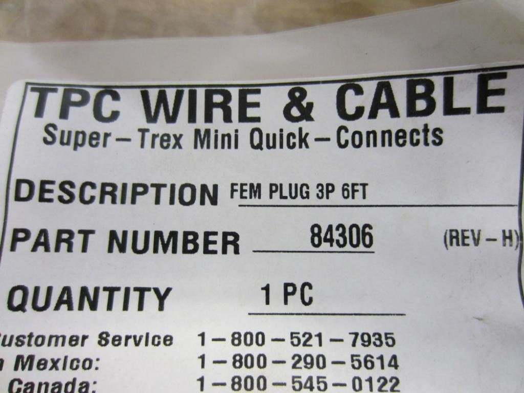 TPC Wire And Cable 84306 Cable 6 FT Fem Plug 3P Rev. H: Amazon.com ...