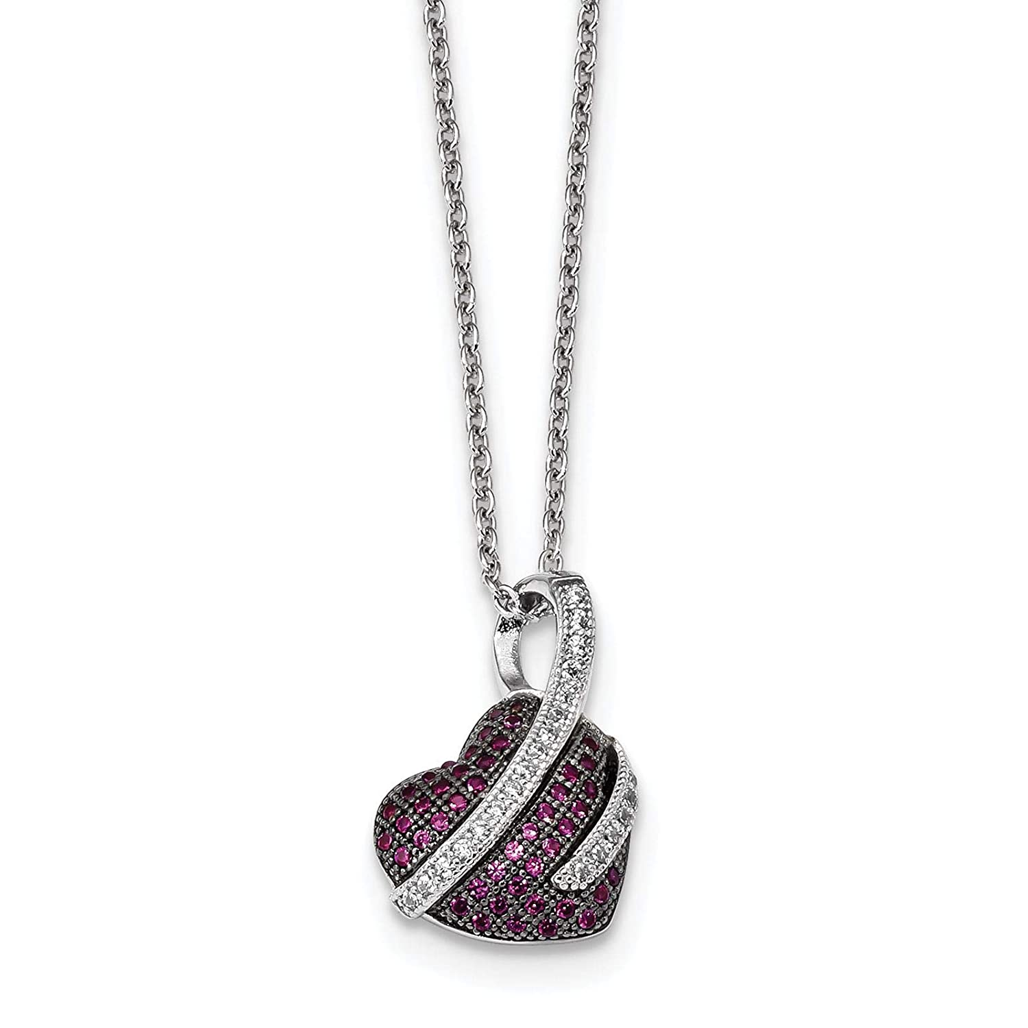 2 Extender Brilliant Embers Sterling Silver Rhodium-plated Pink /& White CZ Heart Pendant Necklace 18