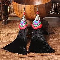 ERAWAN Fashion Women Bohemian Long Tassel Fringe Vintage Boho Hook Dangle Earrings Gift EW sakcharn (Black)