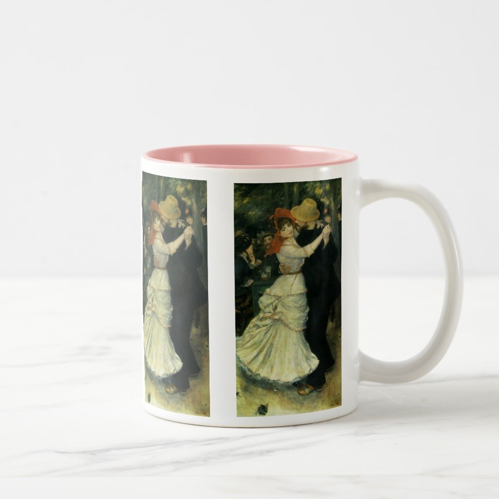 Zazzle Dance At Bougival By Pierre Renoir, Vintage Art Mug, Pink Two-Tone Mug 11 oz