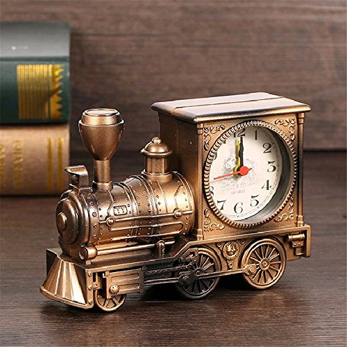 European style nostalgic retro locomotive fashion personality plastic model alarm clock creative home decoration, bronze (Telephone Locomotive)