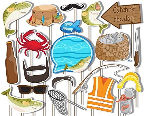 Gone Fishing Photo Booth Props Kit - 20 Pack Party Camera Props Fully Assembled -