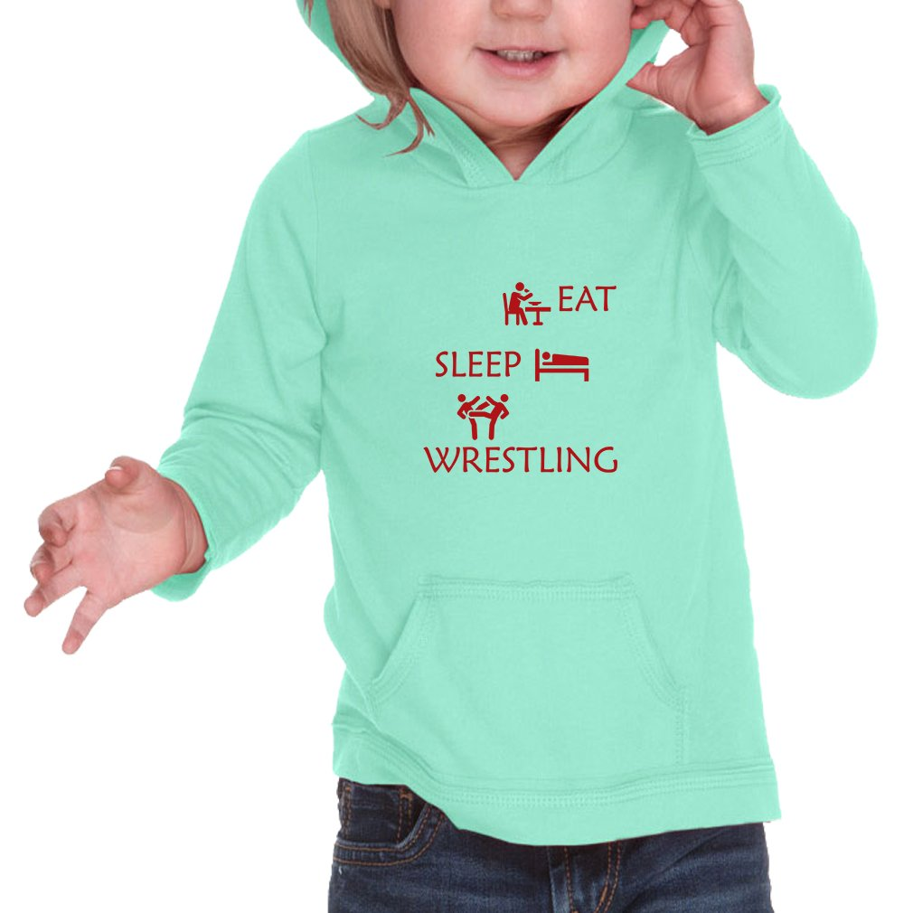 Eat Sleep Wrestling Infants Jersey Raw Edge Hoodie Ice Green 6 Months