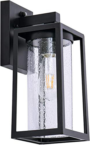 Outdoor Wall Lantern with Dusk to Dawn Sensor, Waterproof Exterior Wall Mount Lights, Anti-Rust Wall Light Fixture with Glass Shade for Porch, Patio, Garage Bulb Not Included