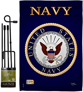 Breeze Decor Navy Garden Flag Set with Stand Armed Forces USN Seabee United State American Military Veteran Retire Official House Decoration Banner Small Yard Gift Double-Sided, Thick Fabric