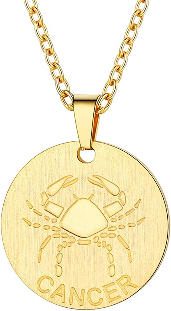 FaithHeart Customizable Astrology 12 Constellation Horoscope Necklace, Stainless Steel/Gold Plated Zodiac Star Sign Coin Pendant Necklace Birthday Gifts Men Lucky Charms Layered Necklace for Women