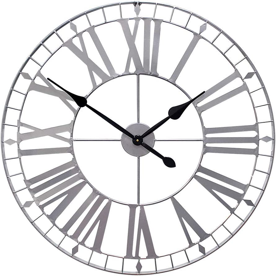 Growsun 30inch Large Wall Clock Pure Metal Heavy Duty Home Decor Farmhouse Living Room Decoration,Sliver