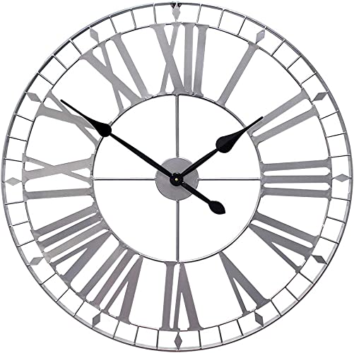 Growsun 32inch Large Wall Clock Pure Metal Heavy Duty Home Decor Farmhouse Living Room Decoration,Sliver