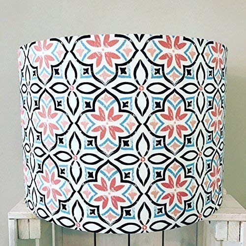 Pink Moroccan tile inspired drum lampshade