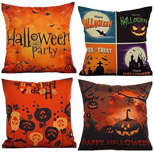 Lemon-Zacker Halloween Throw Pillow Case Cotton Linen Cushion Cover Decorative Pillowcase Square Spider Moon Bat Pumpkin Sofa Pillowcase 17.3 Inch Linen (Decorative Spiders)